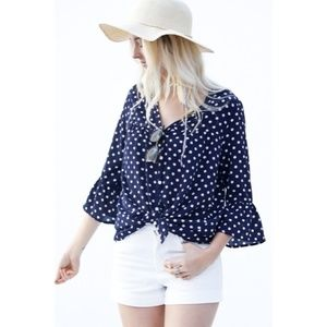 Tops - Polka Dot Tie Front Top New S M L Navy Blue and Wh
